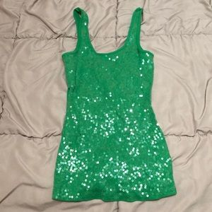 Express Sequined Green Tank Top